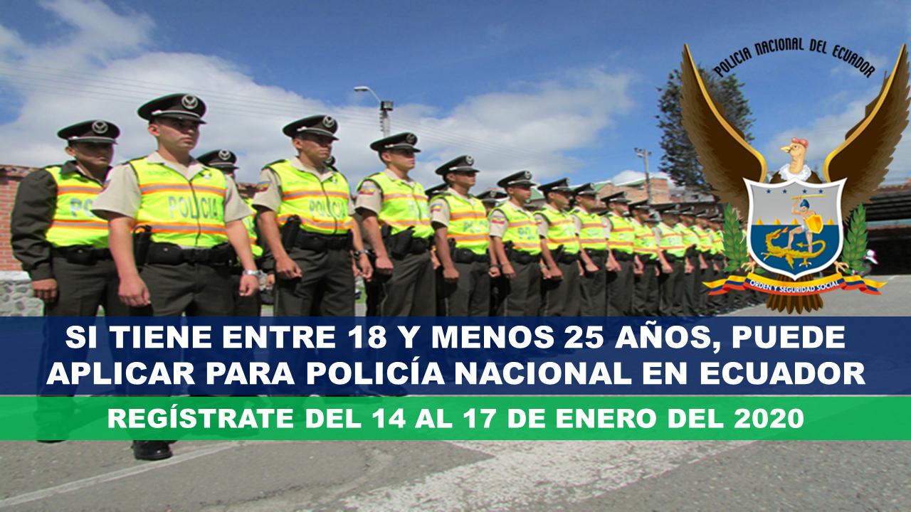 Atención, si tiene entre 18 y menos 25 años, puede aplicar para Policía Nacional en Ecuador