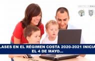Clases en el Régimen Costa 2020-2021 Inician el 4 de Mayo