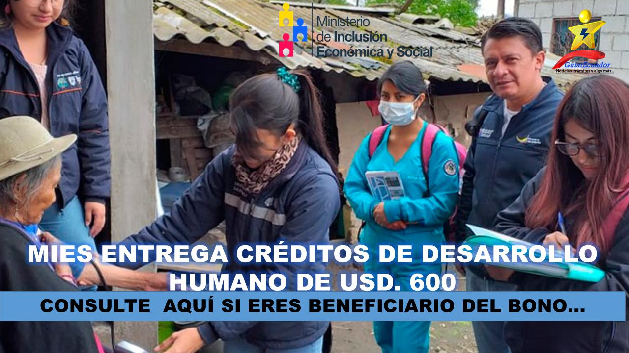 MIES entrega Créditos de Desarrollo Humano de USD. 600