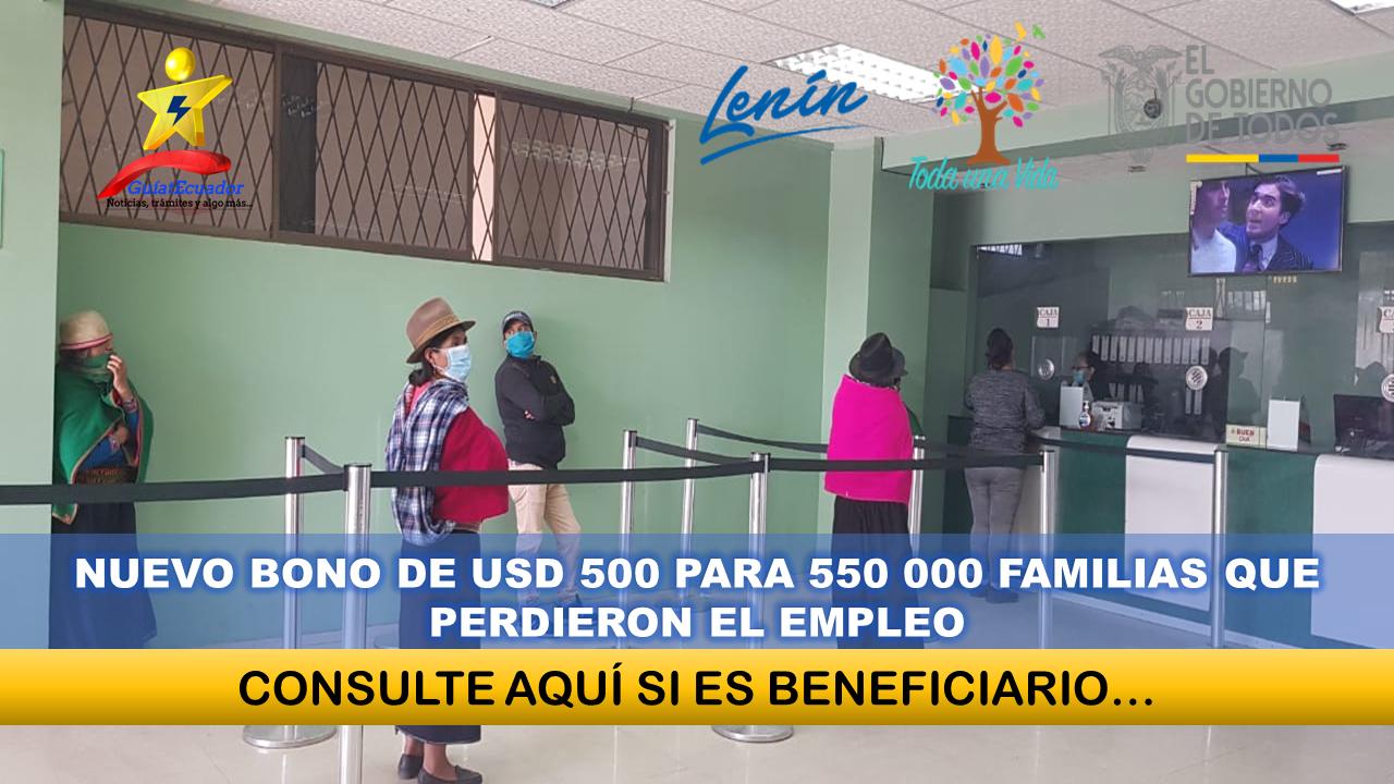 Gobierno anuncia un bono de USD 500 para 550 000 familias que perdieron el empleo