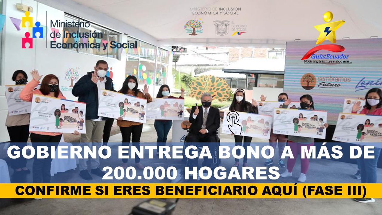 Gobierno Entrega Bono a más de 200.000 Hogares Bono de Protección Familiar Fase III