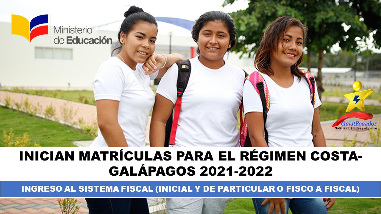 Inician matrículas para el régimen Costa-Galápagos 2021-2022