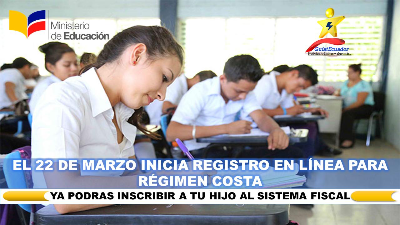 El 22 de Marzo Inicia Registro en Línea para Régimen Costa